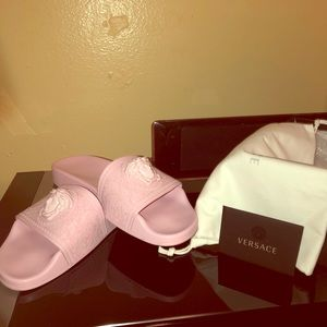 Versace Slide Pink with medusa head